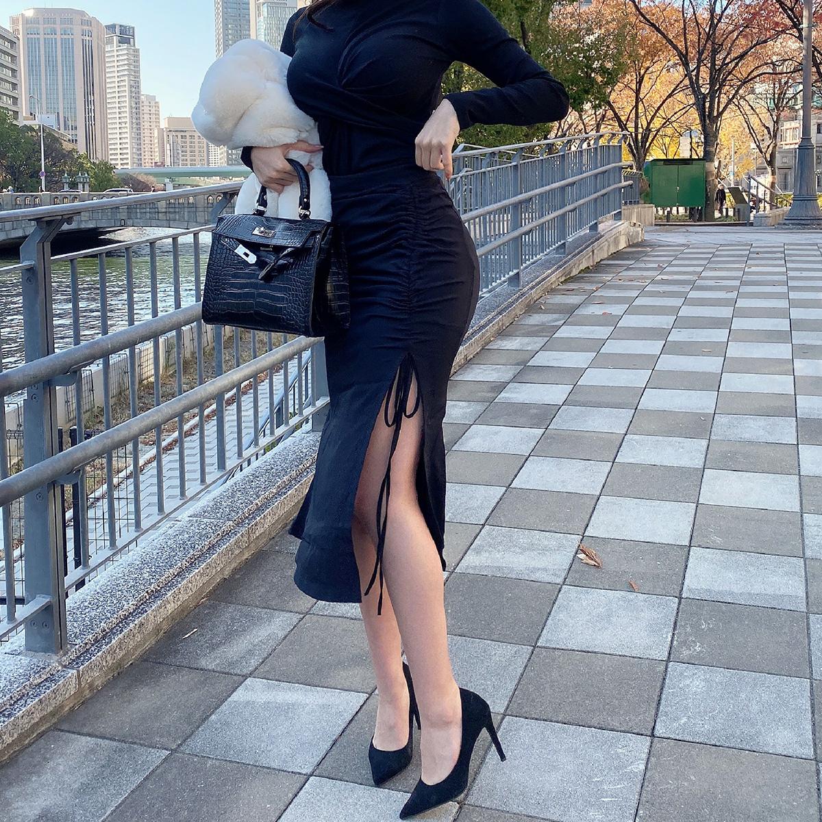 スリットマーメイドスカート カラー:ブラック