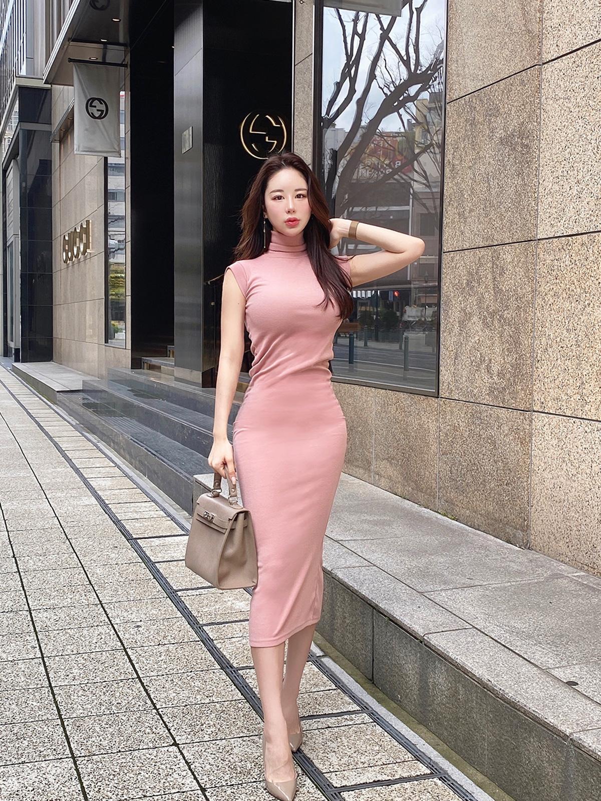 フレンチスリーブロングドレス カラー:ブラック、ピンク、ライトグレー
