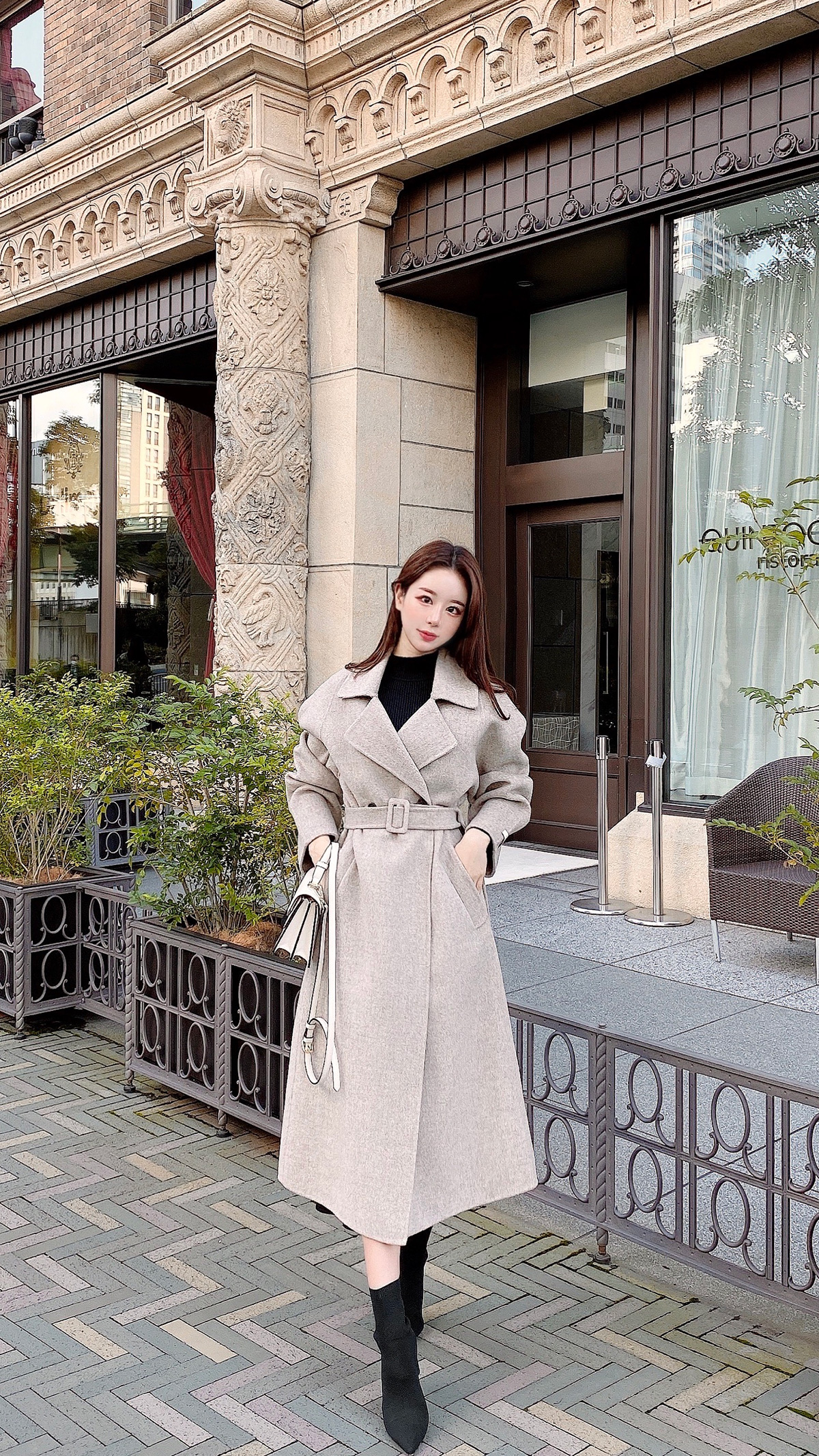 belt handmade wool coat カラー:ブラック、オートミール