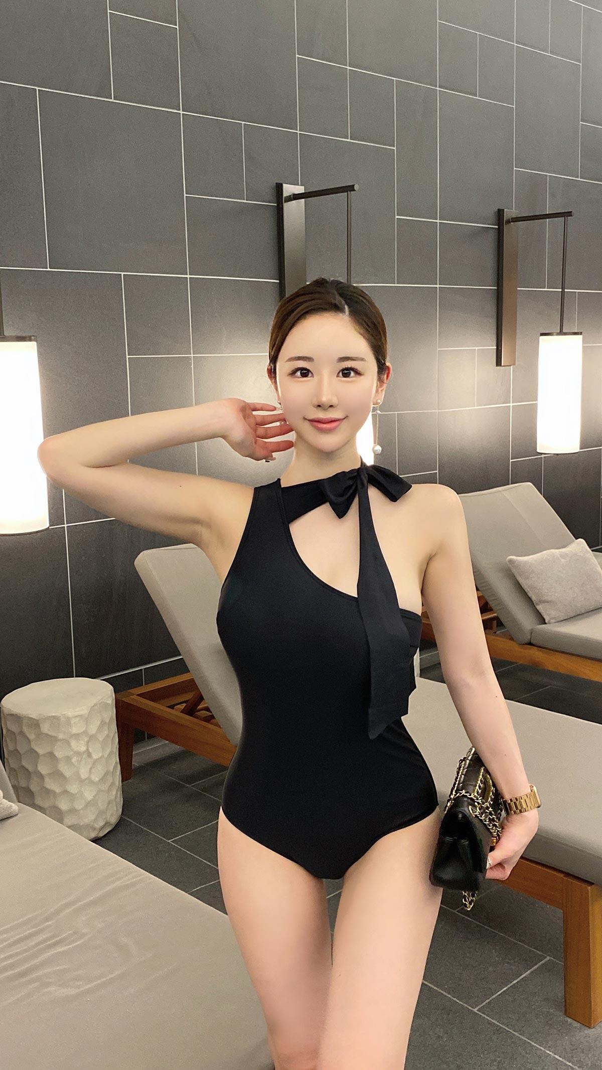 lady リボンモノキニ カラー:ブラック